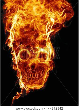 skull of fire. Of fire formed skull dead, as a symbol of the dangers. Isolated on a black background