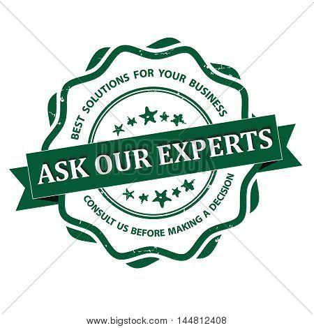 Ask our experts - grunge green consultancy label for businesses. Print colors used