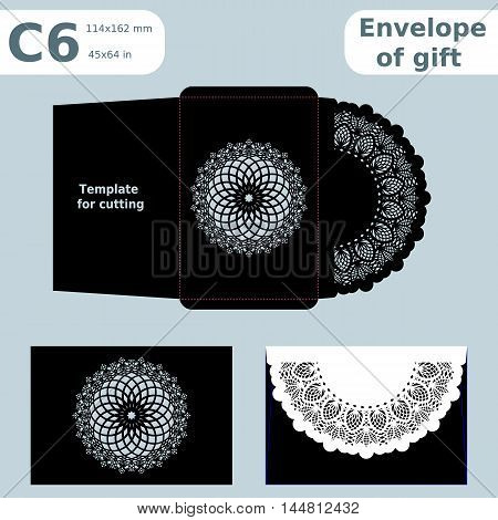 C6 openwork paper converter for romantic messages template for cutting lace pattern envelope greetings laser cutting template presents packing vector illustrations.