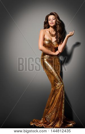 Fashion Model Girl Posing Glamour Gold Dress Elegant Woman Golden Gown