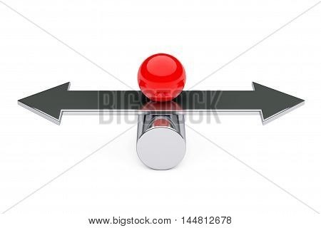 Balance Choise and Harmony concept. Red Metal Ball over Arrow on a white background. 3d Rendering