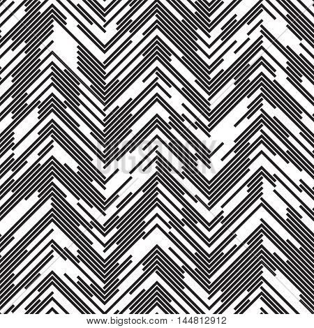 Seamless Zig Zag Pattern. Abstract  Black and White Background. Vector Regular Texture. Chaotic Dotted Line Ornament