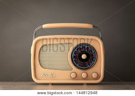 Old Style Photo. Closeup Vintage Radio on a wooden table. 3d Rendering