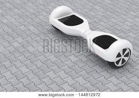 White Self Balancing Electric Scooter on a street tiles floor. 3d Rendering
