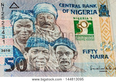 50 Nigerian naira bank note. Nigerian naira is the main currency of Nigeria