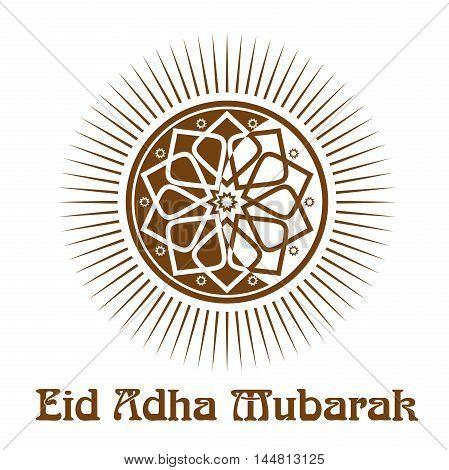 Eid al-Adha - Festival of the Sacrifice. Islamic ornament and lettering - 'Eid Adha Mubarak'. Vector illustration isolated on white background