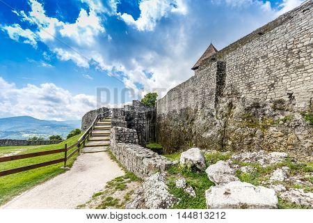 Citadel wall in Visegrad, Hungary, outdoor shot