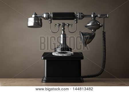 Old Style Photo. Vintage Retro Telephone on a wooden table. 3d Rendering