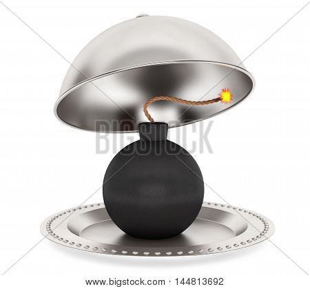 Bomb Inside Silver Restaurant Cloche on a white background. 3d Rendering