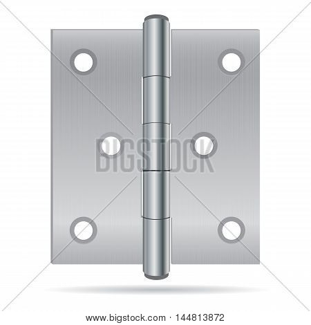 Hinges with Stainless steel texture on white background.