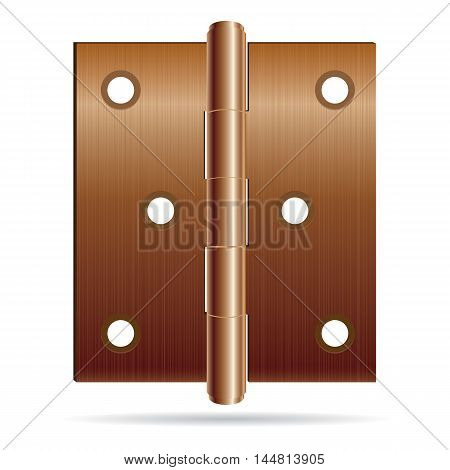 Bronze color hinges with steel texture isolated on white background.