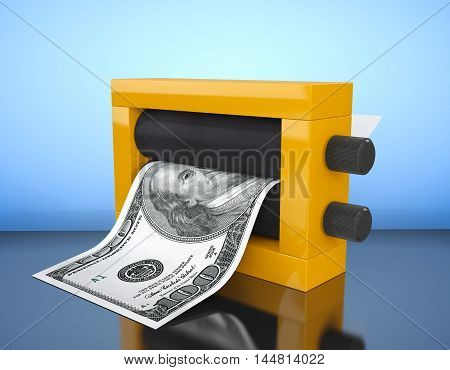 Magic Press for Making Money on a blue background. 3d Rendering