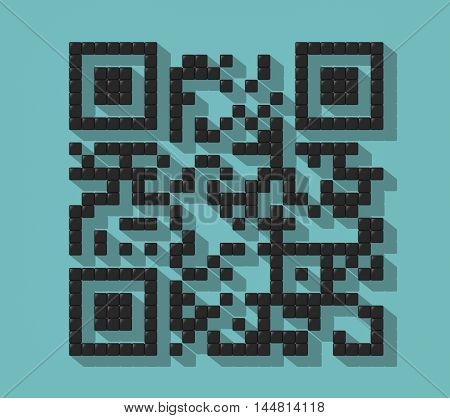 Cube Abstract QR Code with Shadow on a colorful turquoise background. 3d Rendering