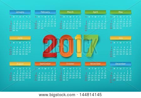 Colorful calendar template for a year 2017. Vector illustration.