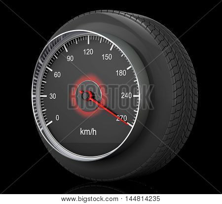 Speedometer in Car Wheel Tyre on a black background. 3d Rendering