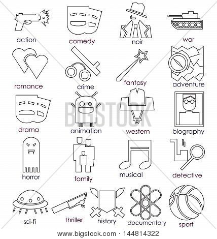 Vector line icons set. Cinema genres theme.