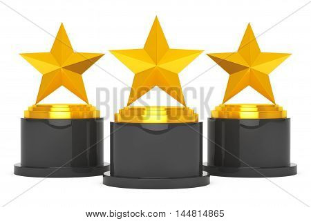 Three Gold Star Awards on a white background. 3d Rendering