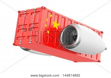 Aircraft Jet Engine with China Flag Shipping Container on a white background. 3d Rendering