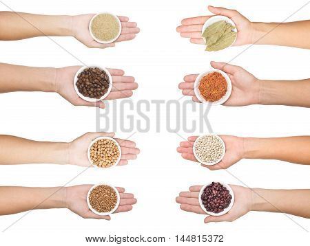 set of hands with food isolated on white background