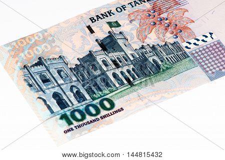 1000 Tanzanian shillings bank note. Tanzanian shilling is the national currency of Tanzania