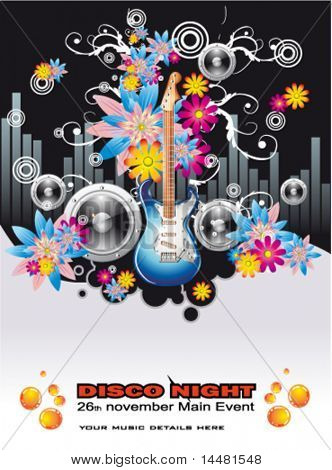 VECTOR Summer Disco Music Night Event Background with flowers motive