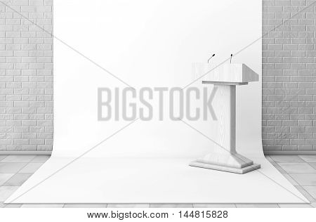 Tribune Rostrum Stand with Microphones in Studio Room extreme closeup. 3d Rendering