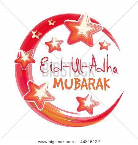 Muslim community festival of sacrifice Eid Ul Adha greeting card with lettering - 'Eid Ul Adha Mubarak'. Festival of the Sacrifice. Vector illustration