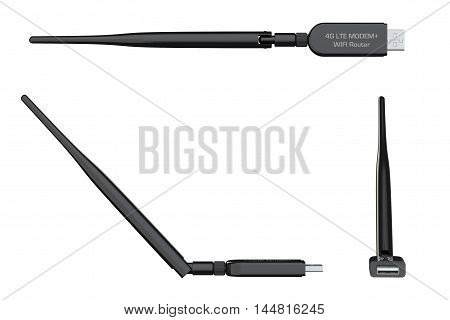 Wireless USB 3G 4G Modem on a white background. 3d Rendering