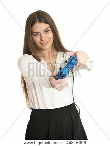 Young woman playing video game with joystick isolated on white background