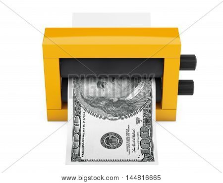 Magic Press for Making Money on a white background. 3d Rendering