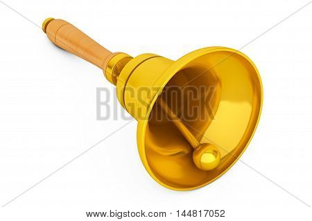 Vintage Golden School Bell on a white background. 3d Rendering