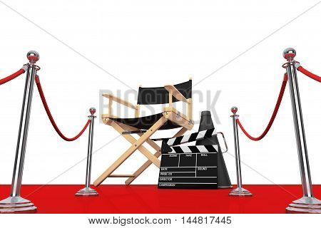 Director Chair Movie Clapper and Megaphone over Red Carpet with Barrier on a white background. 3d Rendering