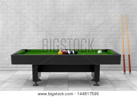 Billiard Table with Balls Set and Cue in front of brick wall. 3d Rendering