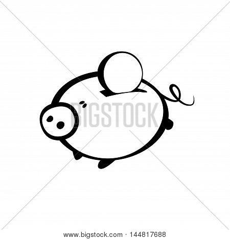 piggy bank vector sign. Coin savings icon