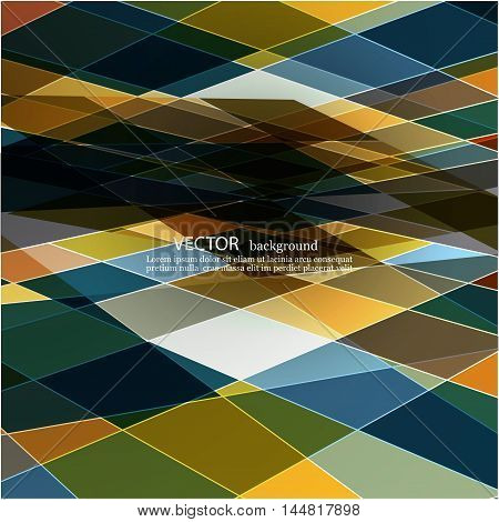 Bright abstract background of rectangles in perspective Vector illustration