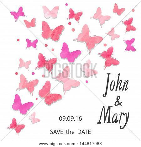 Wedding invitation design with watercolor butterflies. Vector illustration in pink and violet, can be used as birthday card, party invitation, greetings.