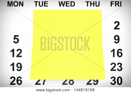 Yellow Note Paper over Calendar extreme closeup. 3d Rendering