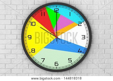 Round Multicolour Modern Office Clock in front of brick wall. 3d Rendering