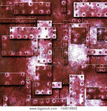 red rusty fix wall. grunge metal background. 3d illustration.