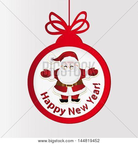 New year clock. Christmas ball and Santa Claus.