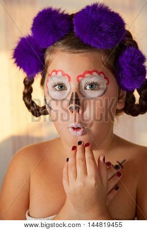 portrait of girl in skeleton make-up. Halloween style