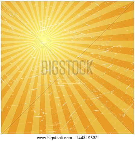 Old grunge background with rays vector illustration
