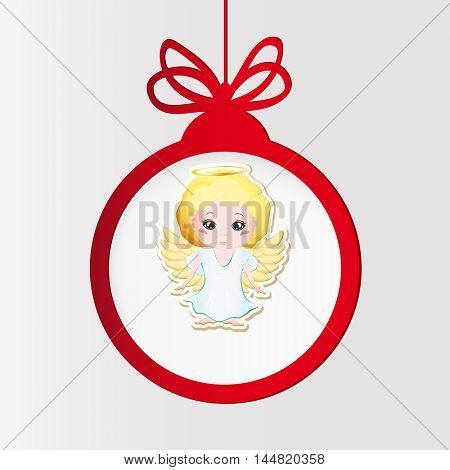 New year clock. Christmas ball and angel.