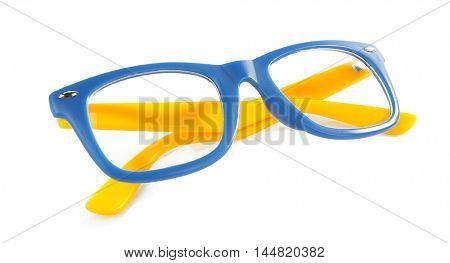 Stylish glasses, isolated on white