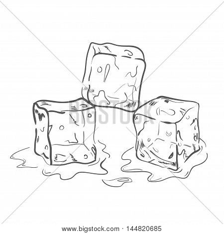 Set of sketch ice cubes. All elements separately for your design. Vector illustration.