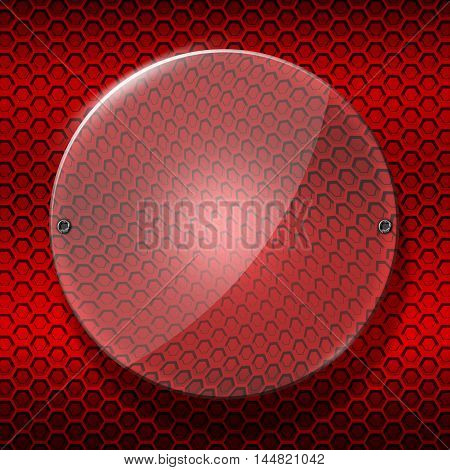 set 8. circle glossy glass with rivet on red metallic mesh wall. 3d illustration background.
