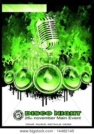 Green Disco Dance Background for Music Event Flyers