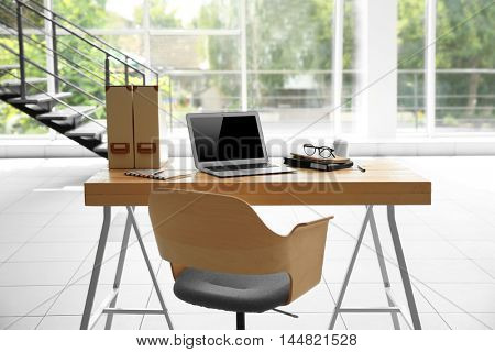 Working place on window background