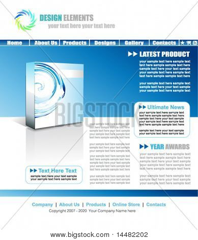 VECTOR Light Blue Web Site Elegant Template with Empty box for product promotion