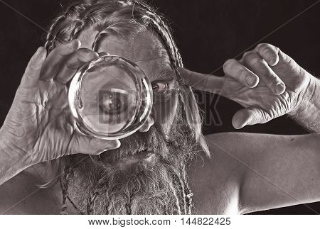 A Man And A Glass Bowl